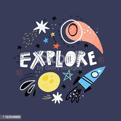 Explore cartoon vector typography. Handwritten lettering on darkblue background. Decorative framing with space elements. Meteorite, stars, moon. T shirt, poster typography design