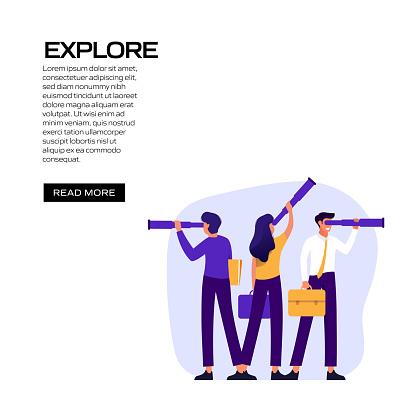 Explore Concept Vector Illustration for Website Banner, Advertisement and Marketing Material, Online Advertising, Social Media Marketing etc.