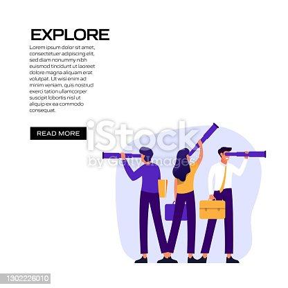 istock Explore Concept Vector Illustration for Website Banner, Advertisement and Marketing Material, Online Advertising, Social Media Marketing etc. 1302226010