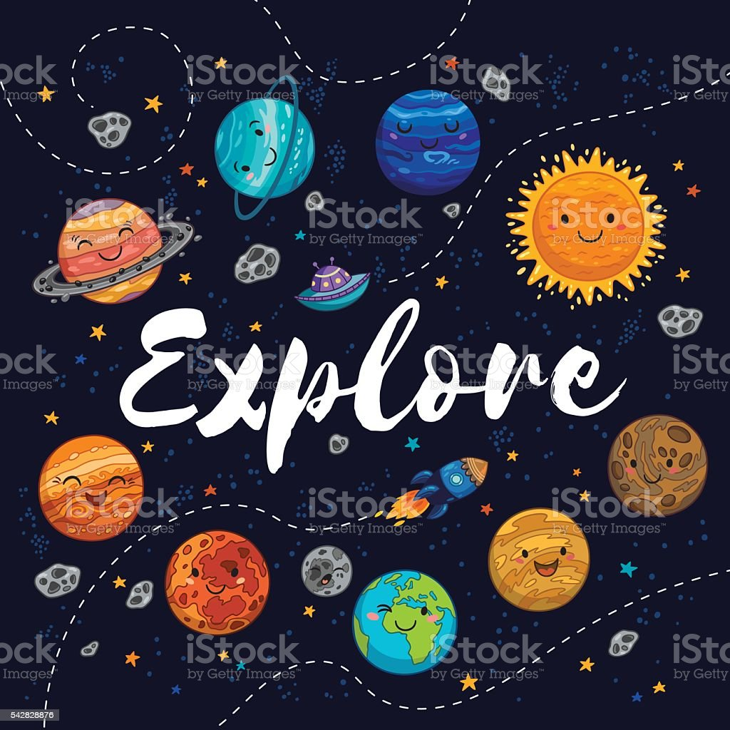 Explore. Fantastic childish background in bright colors - Illustration vectorielle