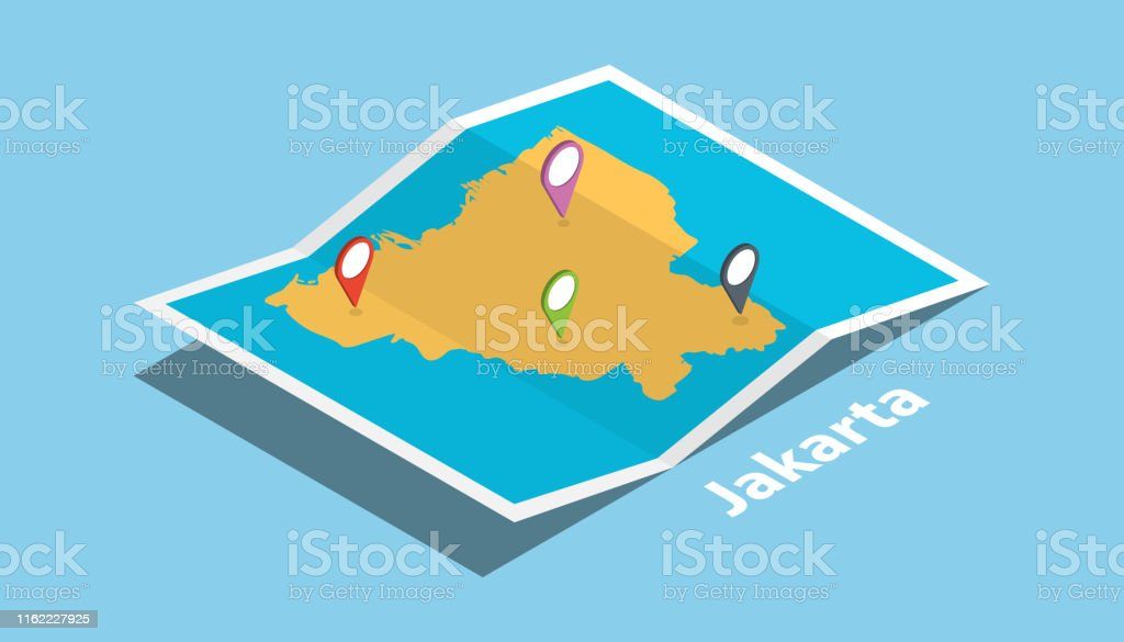 explore jakarta maps with isometric style and pin location tag on top...