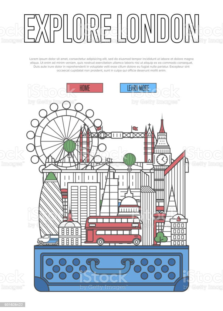 Explore London poster with open suitcase vector art illustration
