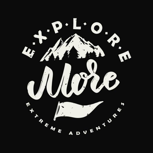 ilustraciones, imágenes clip art, dibujos animados e iconos de stock de explorar más. mano dibuja la ilustración con las montañas. - logotipos de investigación