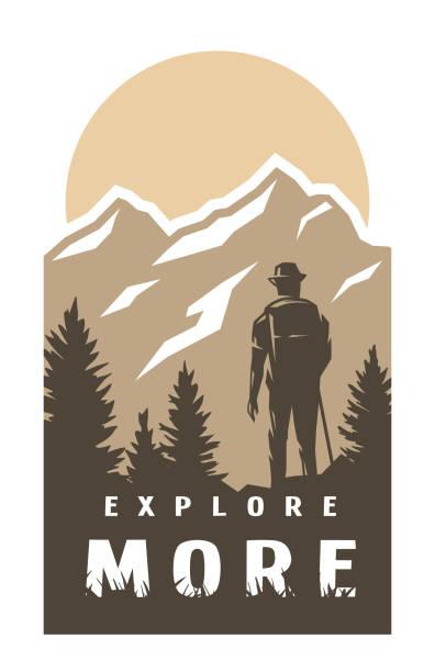 Explore more. Traveler on the background of wildlife. Vector illustration. Explore more. Traveler on the background of wildlife. hiking stock illustrations