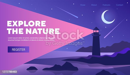 istock Explore Nature web template design with lighthouse 1272786463