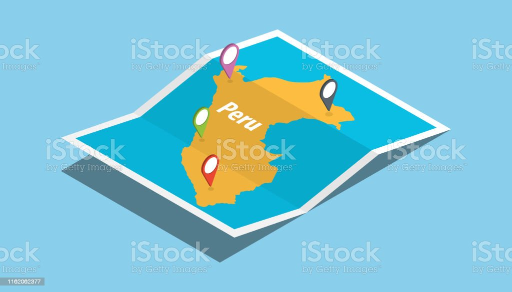 explore peru maps with isometric style and pin location tag on top...