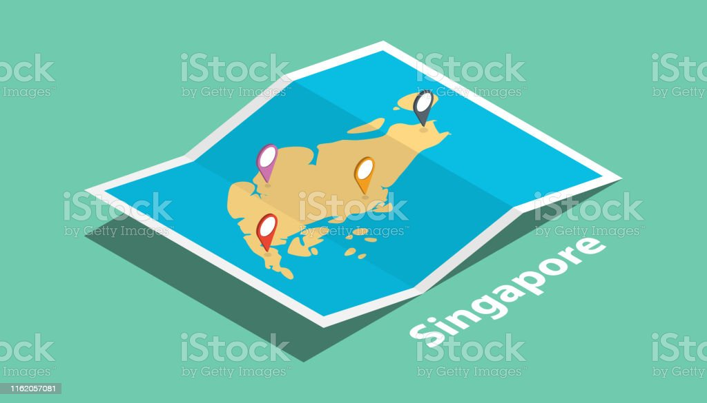 explore singapore maps with isometric style and pin marker location...