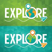 Explore travel map location text concept. EPS 10 file. Transparency effects used on highlight elements.