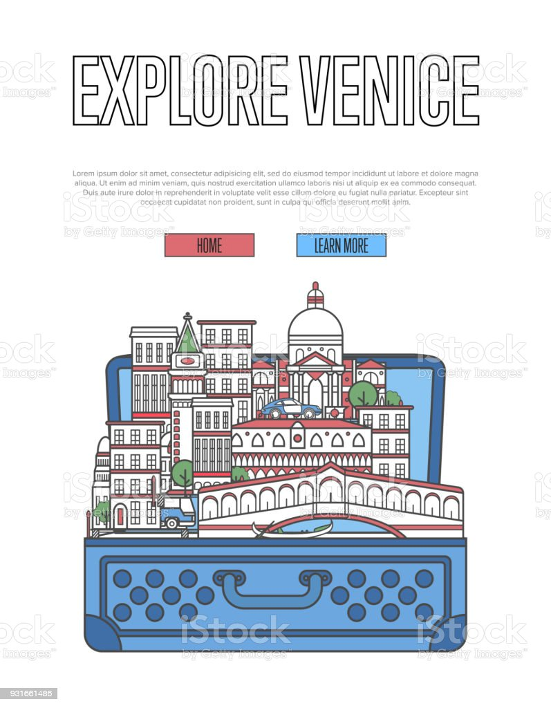 Explore Venice poster with open suitcase vector art illustration