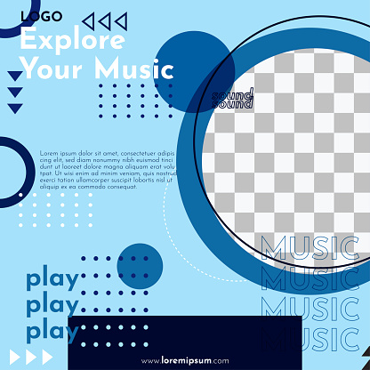 Explore your music social media post - Geometric design and colorful background.