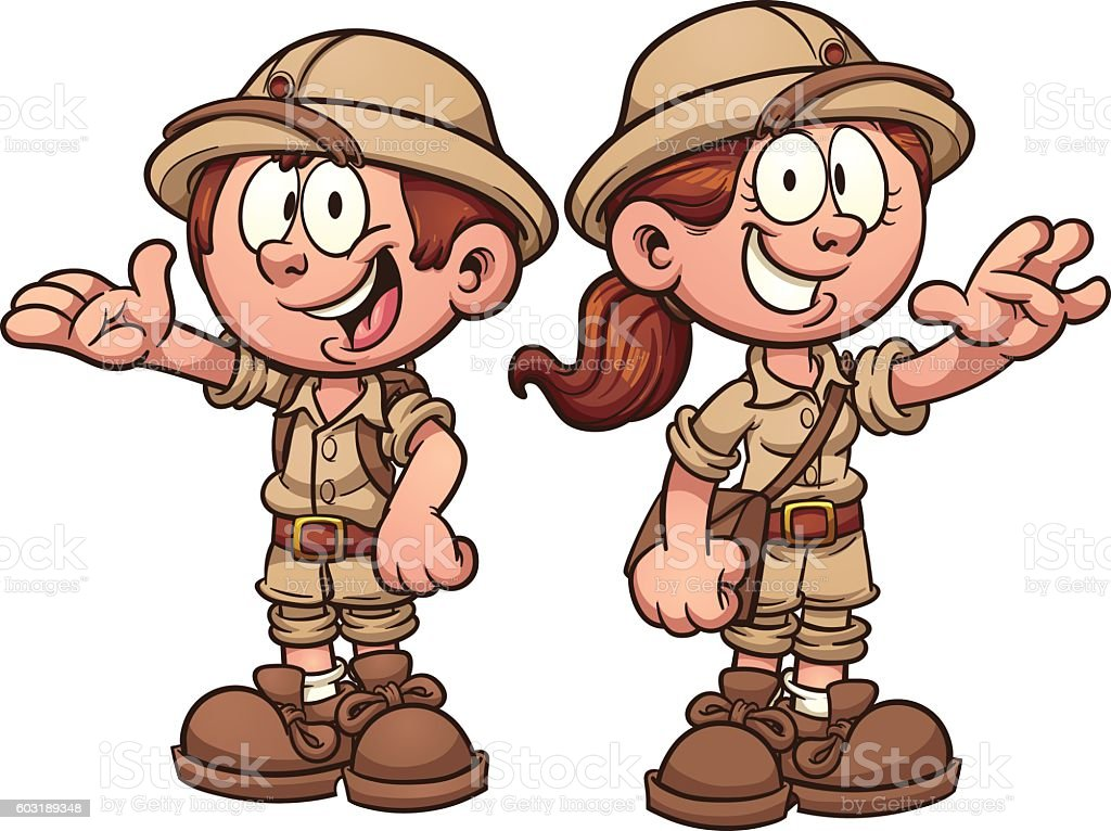 Explorer kids vector art illustration