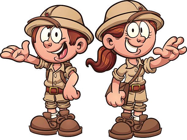 Explorer kids vector art illustration