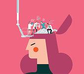 Concept of scientist exploring human brain stock illustration