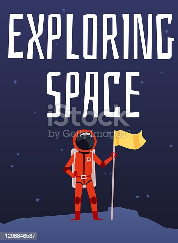 Exploring space inscription with spaceman character flat vector illustration.