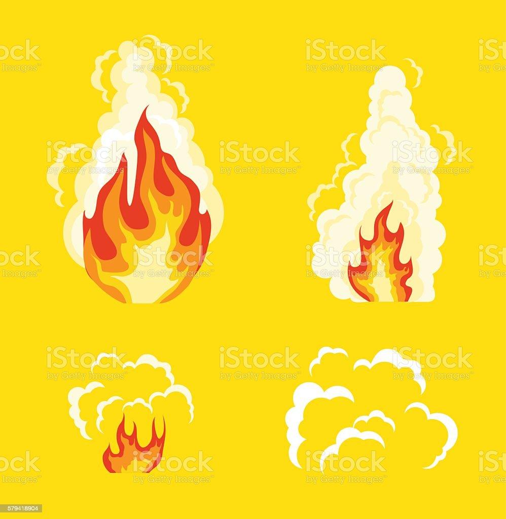 Explosion animation effect. Vector flat cartoon illustration set vector art illustration