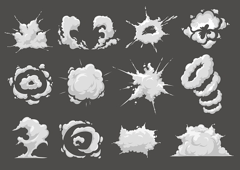 Explosion blast, burst cloud cartoon vector icons