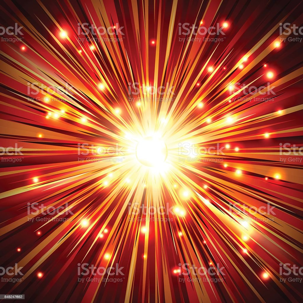 Explosion Fire Spark Particle Ray Beam Light Background vector art illustration