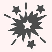 Explosion glyph icon. Starburst blast shapes. Astronomy vector design concept, solid style pictogram on white background, use for web and app. Eps 10