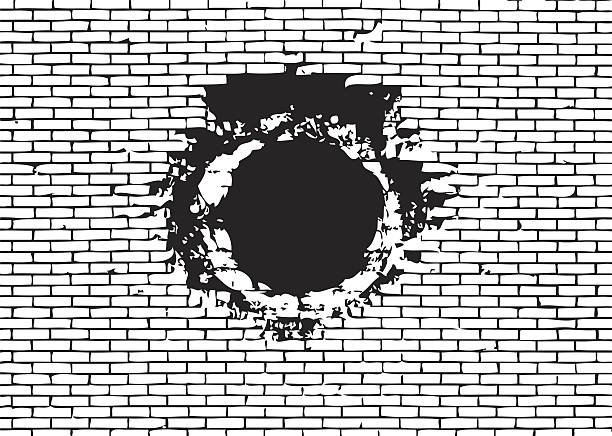 Explosion hole on brick wall vector illustration vector art illustration