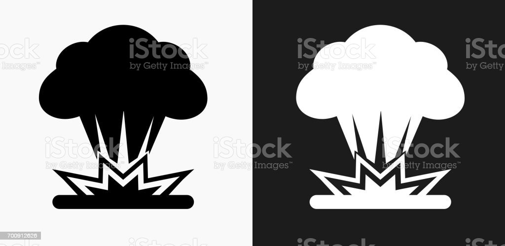 Explosion Icon on Black and White Vector Backgrounds vector art illustration
