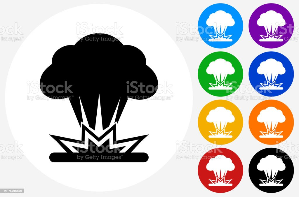 Explosion Icon on Flat Color Circle Buttons vector art illustration