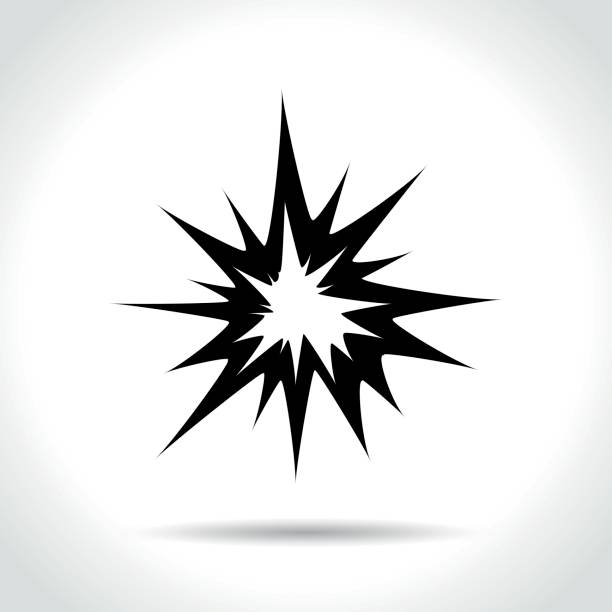 explosion icon on white background - spark stock illustrations
