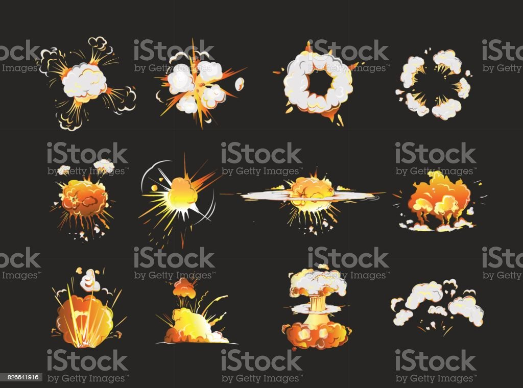 Explosion icons set. vector art illustration