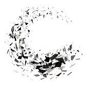 Explosion of black shards ring. Shatter