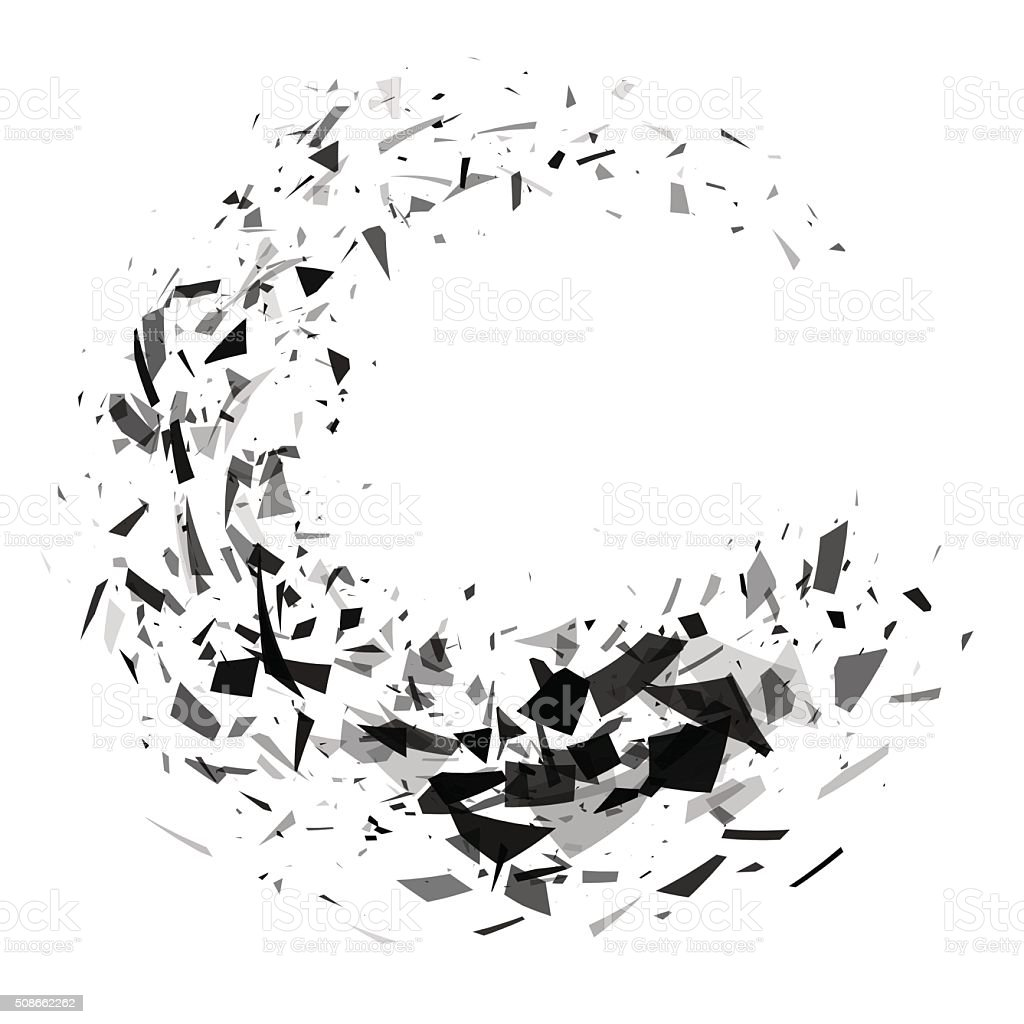 Explosion of black shards ring. Shatter vector art illustration