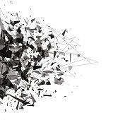 Explosion of black shards. Shatter vector