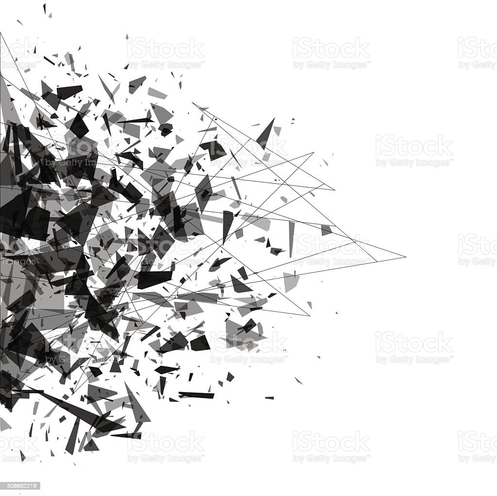 Explosion of black shards. Shatter vector vector art illustration