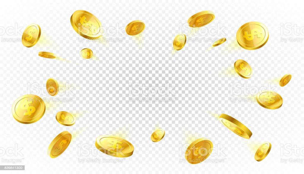 Explosión de monedas de oro con lugar para el texto - ilustración de arte vectorial