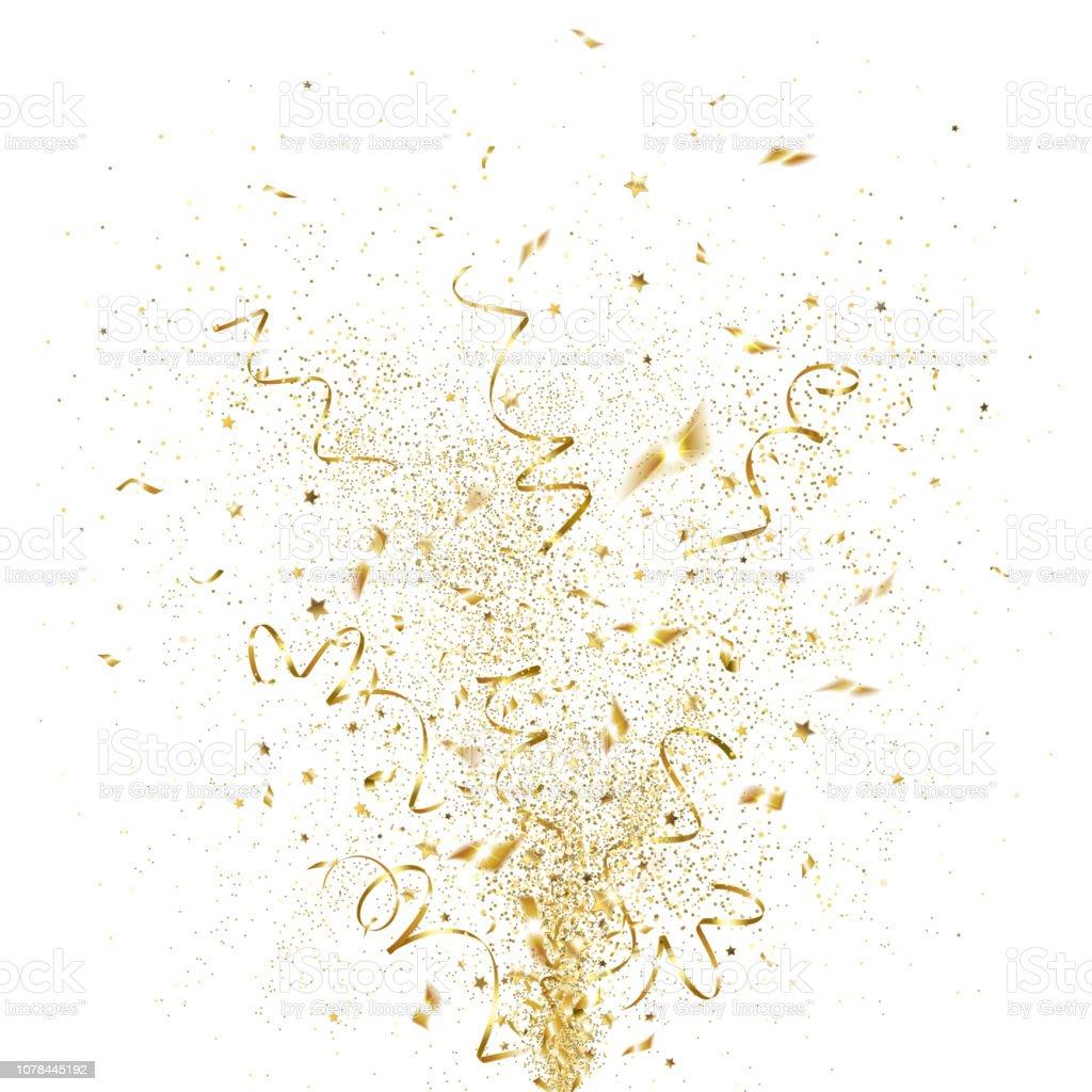 Explosion of Golden Confetti explosion of golden confetti on a white background Anniversary stock vector