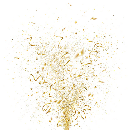 Explosion Of Golden Confetti Stock Illustration - Download Image Now