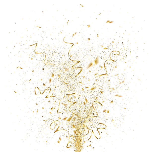 Explosion of Golden Confetti explosion of golden confetti on a white background celebration stock illustrations