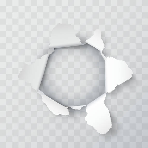 explosion paper hole on the transparent background. vector illustration - papier do pakowania stock illustrations