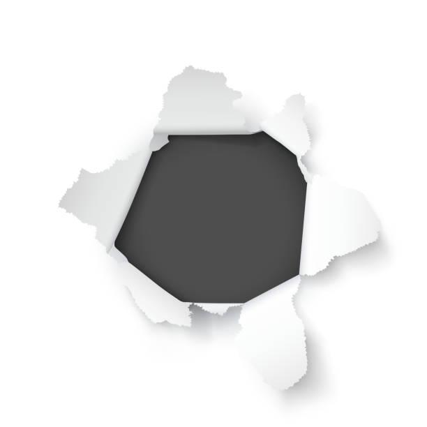 bildbanksillustrationer, clip art samt tecknat material och ikoner med explosions pappers hål på den vita bakgrunden. vektor illustration - hål