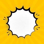 Explosion steam speech bubble pop art banner. Funny funky banner comics background.