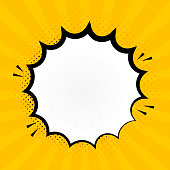 Explosion steam speech bubble pop art banner. Funny funky banner comics background.