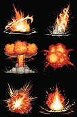 Explosions in 6 different shapes