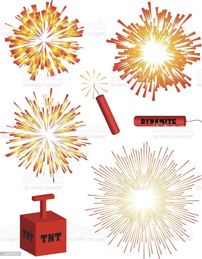 Explosions vector art illustration