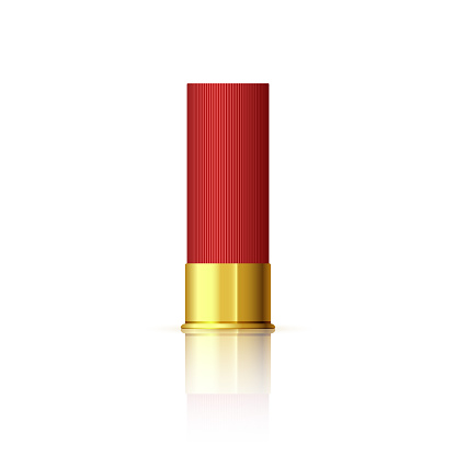 Explosive cartridge for shotgun. Red realistic cartridge with reflection isolated on white. Vector