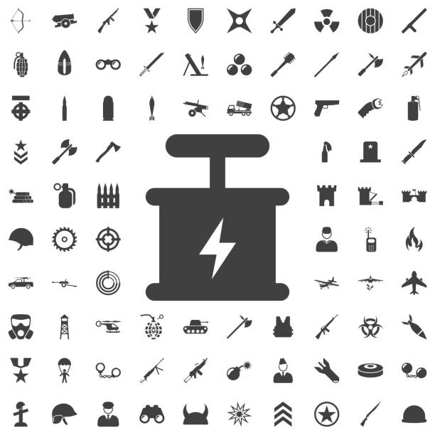 Explosive Detonator Vector Icon Explosive Detonator Vector Icon. Set of weapon icons explosive fuse stock illustrations