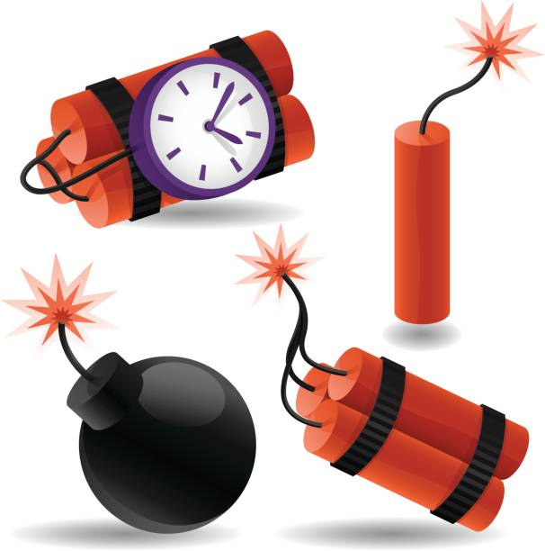 Explosive Elements Explosive graphic elements and icons. explosive fuse stock illustrations