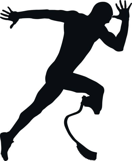 explosive start athlete runner disabled vector art illustration