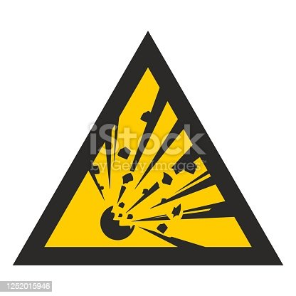 Explosive. Yellow triangle. Warning danger. Sign isolated on white background