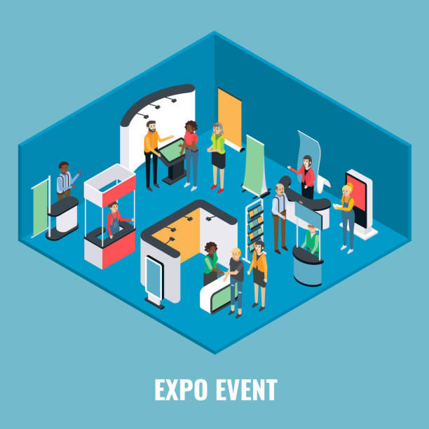 Expo event concept vector flat isometric illustration vector art illustration