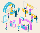 Expo Exhibition Concept 3d Isometric View Include of Stand, Panel, Person, Showcase and Rack for Trade. Vector illustration