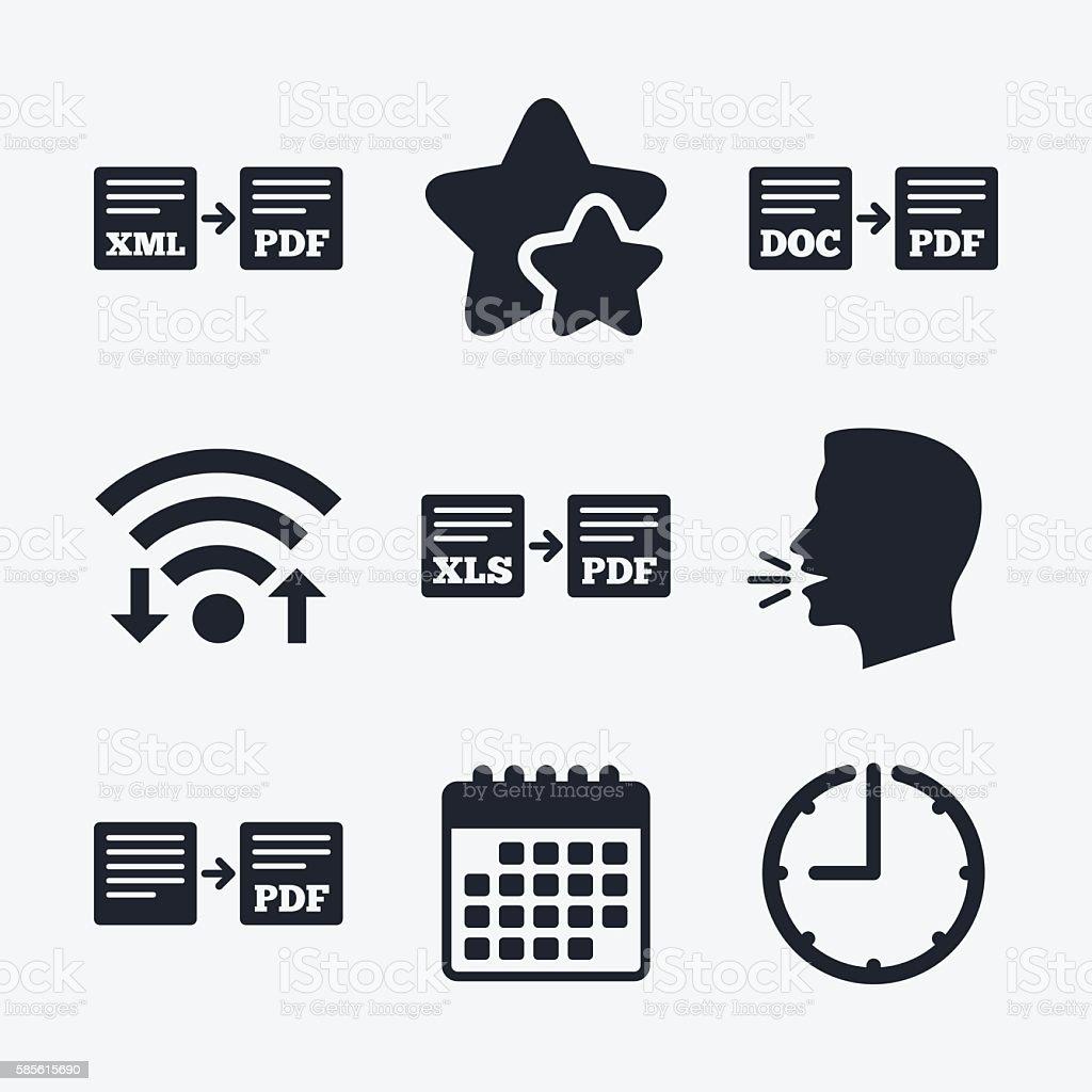 Export File Signs Convert Doc To Pdf Symbols Stock Vector Art More