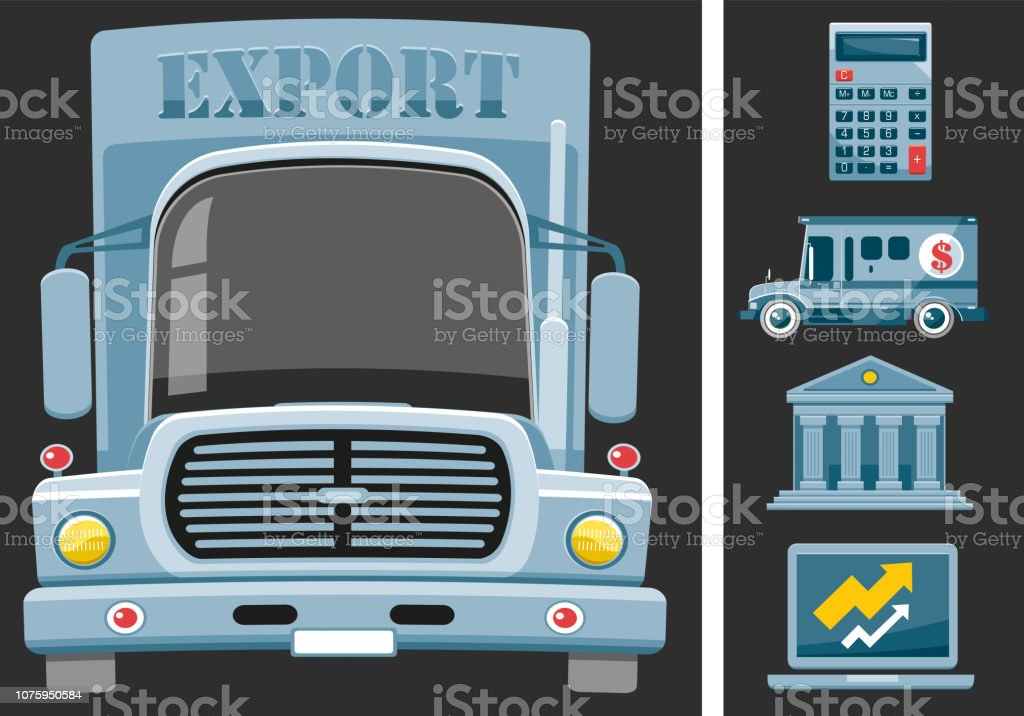 Export lorry vector art illustration